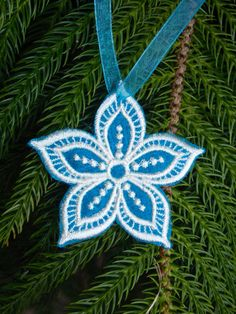 FSL Christmas Snowflake ~ Flower ~ Ornament ~ Christmas ~ Holiday ~ Wreath ~ Gift ~ Machine Embroidered on Turquoise Organza by LaughingLinens on Etsy