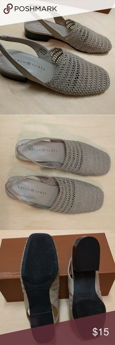 US size 7 sandal flat Great condition, taupe colored, woven upper, sandal-grandma-flat. Low heel and very comfortable. Never worn, looks like new. Has elastic band strap to keep from slippage. Great chance to try the grandma shoe trend! Karen Scott Shoes Flats & Loafers