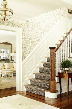 love the wallpaper and runner for foyer