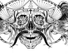 Pen & Ink Bandito Dia de los Muertos !