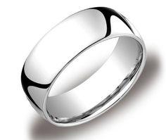 Men's 14k White Gold 8mm Comfort Fit Plain Wedding Band $579.00