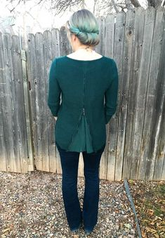 Market & Spruce Brookline Mixed Material Sweater. Love the color as well as the zipper back, and how the fit can be adjusted!