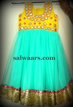 Mirror Work Frock in Pastel Color - Indian Dresses