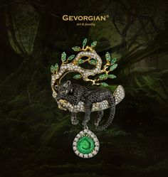 "Pendant ""Panther"".  As though just descended from the pages of ""Mowgli"", the black panther is resting on a thick branch of banyan tree. The panther is holding a big emerald pendant in her pad and lazily playing with the pendant. This movable part of pendant attaches the smooth feeling of movements and grace of a big cat, and shining of a big emerald is mysteriously mirrored in green cat's eyes. www.gevorgian.ru https://www.facebook.com/Gevorgian.jewelry"