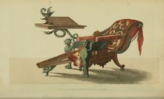 An early recliner. Patented Reclining Chair - re-positionable back with double reclining foot-rest and attached table in a classical style. EKDuncan - My Fanciful Muse: Regency Furniture 1809 Ackermann's Repository Series 1 Vintage Furniture Design, Regency Furniture, Georgian Homes, Georgian Era, Weird Stories, Miniature Houses, The Incredibles, Painting, Muse