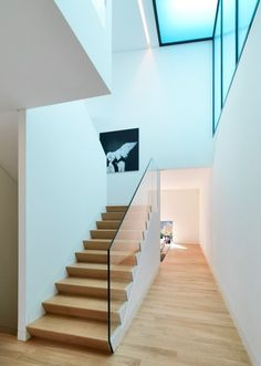 staircase with glass walls