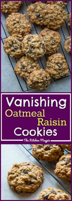 Vanishing Oatmeal Raisin Cookies -Right Off the Quaker Oatmeal Package! These are the BEST oatmeal cookies ever! #cookies #recipe #oatmeal #raisin