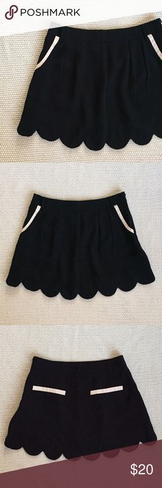 LOWBALL SALE! Make me an offer! Black skirt with cream accents. Has scalloped hem and front pockets. No back pockets. Side zipper. Moon Collection Skirts Mini