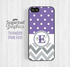 I FREAKING LOVE this case!!! Personalized Monogram iPhone 5 Case iPhone 5s iPhone 5c Case iPhone 4 4s case Samsung Galaxy S3 S4 Purple Polka Dot and Chevron St25 on Etsy, $15.95