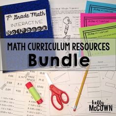 Need new math activities, card sorts, math notes, math foldables, math stations, math centers, and more? The 7th Grade Math Curriculum Resources Bundle is perfect for every seventh grade classroom. Everything is ready to go in your class. Download your middle math worksheets and activities today! Math Lesson Plans, Math Lessons, Math Stations, Math Centers, Math Worksheets, Math Activities, Math Notes, 7th Grade Math, Seventh Grade
