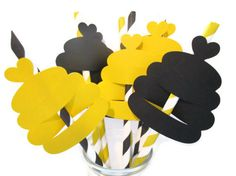 Set of 12 Yellow and Black Striped Straws with Beehive Toppers - bee party, bee mine, gender reveal, Valentine's Day, Mommy to Bee