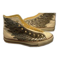 Hand Painted #Sneakers Wings Painted Canvas Shoes