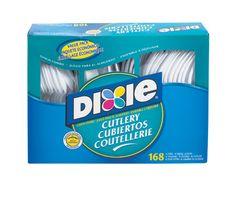 Dixie Mediumweight Plastic Cutlery Combo: Fork, Knife, Teaspoon, White,  56 Each per Box