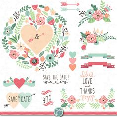 Wedding Clipart pack WEDDING FLORA clip art pack by YenzArtHaut, $5.00