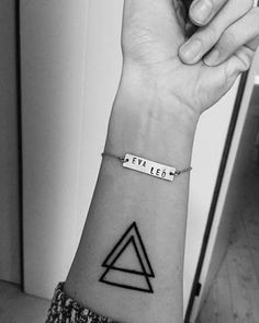 Small Tattoo of Triangles representing Past Present Future and Body Mind Spirit