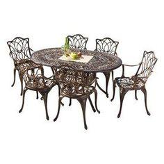 Best Selling Home Decor Hatian 7-Piece Antique Copper Finish Aluminum Patio Dining Set