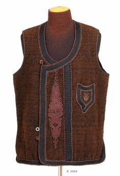 Traditional sleeveless vest, for men. From Serbia, ca. Folk Costume, Costumes, Dalmatia Croatia, Folk Clothing, Costume Patterns, Serbian, Traditional Outfits, Vest, Bulgarian
