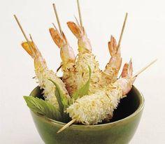 Coconut prawn kebabs