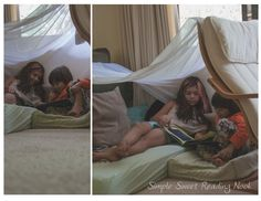 A sweet, simple reading tent using a sheer curtain panel. Easy and fun!