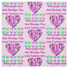 PRETTY PINK FLORAL TEACHER DESIGN FABRIC - college gift idea customize diy unique special