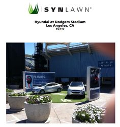 Customized logos incorporated into SYNLawn installations makes for amazing displays like this one for Hyundai at Dodgers Stadium!