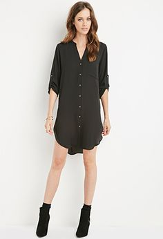 Collarless Shirt Dress | Forever 21 - 2000156796