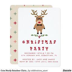 Cute Nerdy Reindeer Christmas Party Invitation
