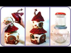 ❣DIY Fairy House with Attic using Two Jars❣. DIY Fairy House with Attic using Two Jars In this video tutorial I show you how I made a medium size fairy house with attic using two jars (one on top of the other), tin foil, hot glue, paper clay and Clay Fairy House, Fairy Garden Houses, Fairy Gardening, Garden Gnomes, Fairies Garden, Garden Bed, Diy Clay, Clay Crafts, Wood Crafts