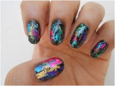 Nail Art Tutorial Using Foils: The picture shows the full treatment, but I like how the nails look after using just one color foil.