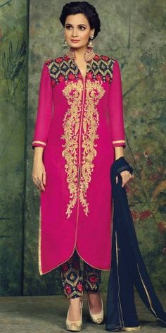 Diya Mirza Pink And Navy Blue Georgette Salwar Suit With Dupatta.