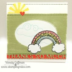 Wink of Stella is liberally used to add shimmer to several parts of this handmade thank you card.  Sunshine and rainbows are sure to bring a smile.