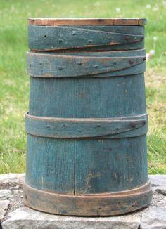 Firkin Original Blue Paint TALL Firkin w/Lid Rare Tall Blue Firkin Primitive #Primitive