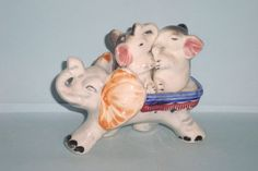 Vintage Baby Elephants Being Carried by Mother Salt and Pepper Shakers
