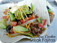 Slow Cooker Chili's Steak Fajitas- a quick, easy, and delicious meal! SixSistersStuff.com
