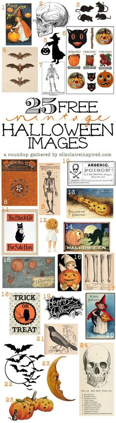 25 FREE Fabulous Vintage Halloween Images for you to download and use for all of your Halloween crafts and decor by Ella Claire.