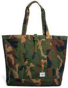 Shop this Hershel Market Xl Camo Tote Bag from Asos for $131: http://lookastic.com/men/dark-green-camouflage-canvas-tote/shop/herschel-market-xl-tote-bag-35719