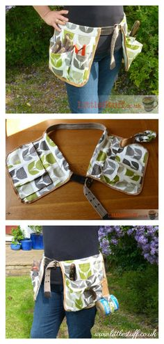 Garden Tool Belt will keep your garden tools organized and in reach easily. Apron Pattern Free, Sewing Patterns Free, Free Sewing, Pattern Sewing, Garden Tool Belt, Garden Tools, Sewing Aprons, Sewing Clothes, Sewing Bras