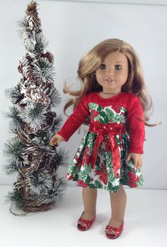 Christmas party dress by MjsDollBoutiqque18T on Etsy. Made with a modified version of the Blossom Dress pattern, available here http://www.pixiefaire.com/products/blossom-dress-pattern-18-dolls. #pixiefaire #blossomdress