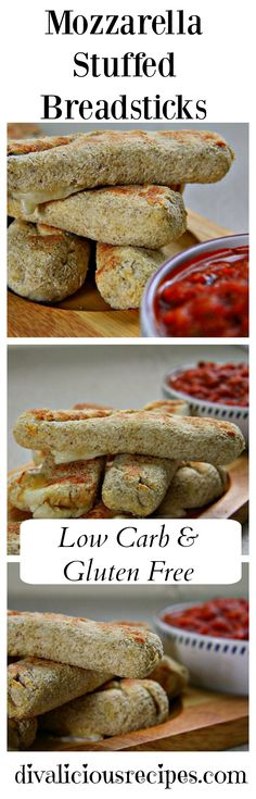 Mozzarella stuffed breadsticks using coconut flour as the dough surrounding the strips of cheese. A great appetiser or snack.