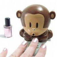 """Nail Dryer Breath Monkeys – This is an cool """"Unusual"""" Cute monkey nail polish blower dryer. Press on the plate of bananas and the cute monkey will blow cool air. Dry your freshly painted nails quickly. Nail Polish Dryer, Cute Nail Polish, Nail Dryer, Cute Nails, Pretty Nails, Gel Polish, Nail Art Hacks, Nail Art Kawaii, Monkey Nails"""