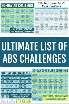 The Ultimate List of Abs Challenges #fitness #workout #heandsheeatclean #challenge #abs #core 30 Day Plank Challenge, Cardio Challenge, Ab Core Workout, Sweat Workout, Fun Workouts, At Home Workouts, Workout Tips, 30 Day Abs, Fitness Tips For Women