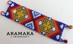 Mexican Huichol Beaded Bracelet Mexican by Aramara on Etsy Huichol Art, Mexican Jewelry, Mexican Designs, Sliding Knot, Woven Bracelets, Peyote Patterns, Bead Art, Bead Weaving, Beaded Jewelry