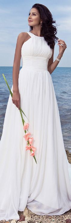 Contemporary Wedding Gown & perfect for a Beach Wedding. A-Line Jewel Neck Sweep / Brush Train Chiffon Wedding Dress with Draped Ruche Bridal Dresses, Bridesmaid Dresses, Prom Dresses, Chiffon Dresses, Fall Dresses, Long Dresses, Formal Dresses, Wedding Attire, Wedding Gowns