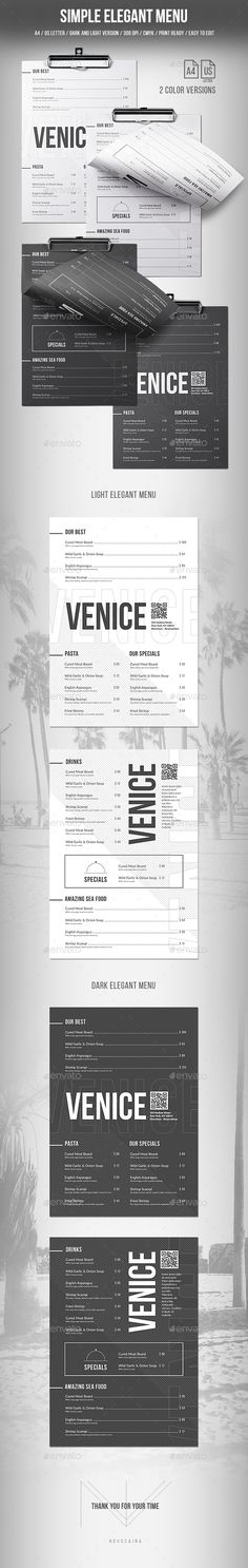 Simple Elegant Menu - A4 and US Letter - 2 Color Versions - #Food #Menus Print Templates Download here: https://graphicriver.net/item/simple-elegant-menu-a4-and-us-letter-2-color-versions/20042188?ref=alena994