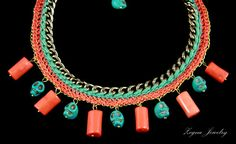 Turquoise Scull Beads Necklace by ZegnaJewelry on Etsy