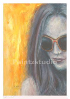Woman painting water colour portrait girl art by Paintzstudio
