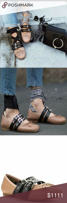 ❣JUST IN❣Punk Buckle Ballet Flats with Wrap❣ Hot! Edgy Ballet Flats These are so fun!! 😍 Nude Ballet flat with 2 buckle straps, interchangeable ties, Black with white checkered and Solid Black Color: Nude flat, black strap, checkered strap Aluna Levi Shoes Flats & Loafers