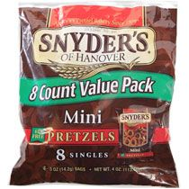 Bulk Snyder's Mini Pretzels, 8-Bag Packs at DollarTree.com. One .5oz bag is 1pt for Weight Watchers. Very popular around Halloween.