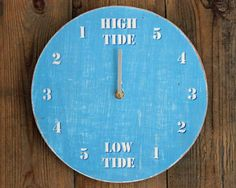 Tide Clock Driftwood Bright Blue 17/49 by ReclaimedTime on Etsy