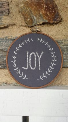 Christmas. Hand Embroidery. Joy. Festive. Garland. Holiday. Embroidery Hoop. Hoop Art. Wall Art. Christmas Decoration. Made to Order. by LadyJaneLongstitches on Etsy https://www.etsy.com/listing/210293279/christmas-hand-embroidery-joy-festive